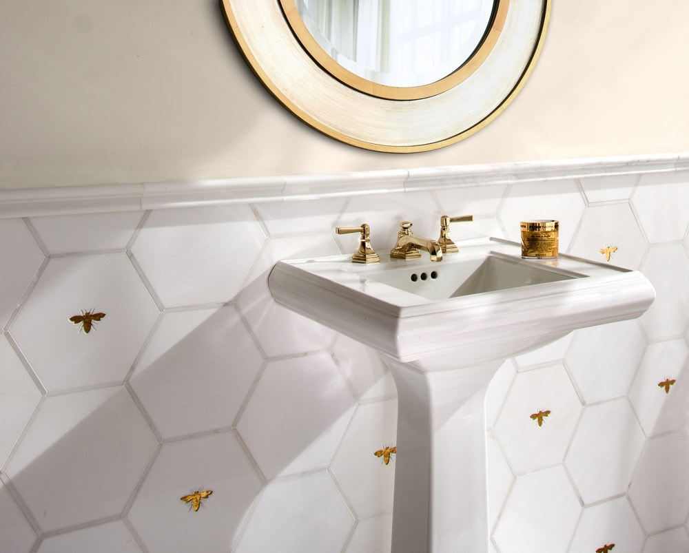 New Ravenna gold and white bathroom tile