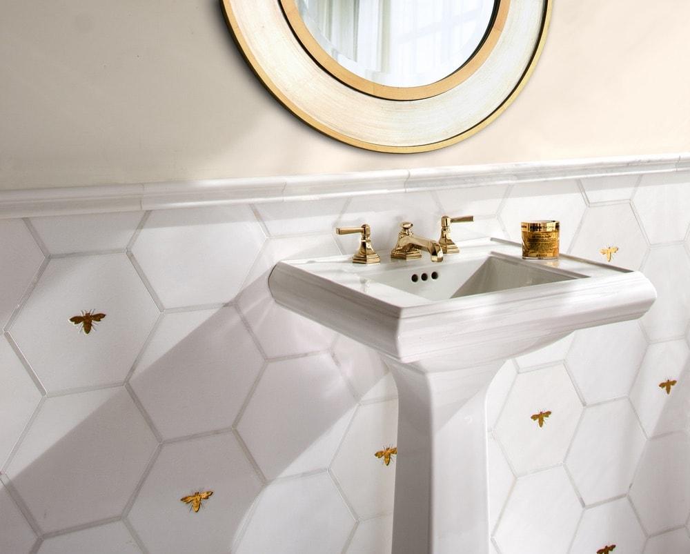 New Ravenna gold and white bathroom tile
