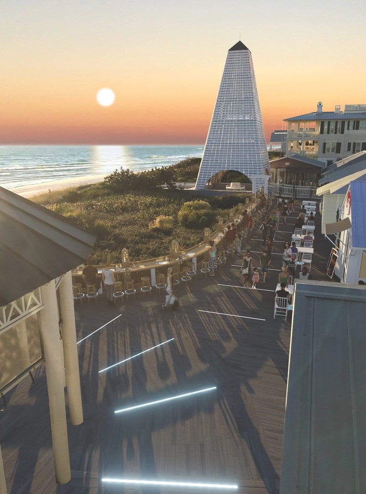 Digital renderings of the new boardwalk between the Coleman Pavilion obelisk and Bud & Alleys, which is currently under construction with carpentry by Jim Foley. Rendering courtesy of Thadani Architects + Urbanists