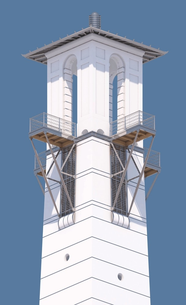 A detailed rendering of the Seaside Tower by Léon Krier. Rendering courtesy of Léon Krier