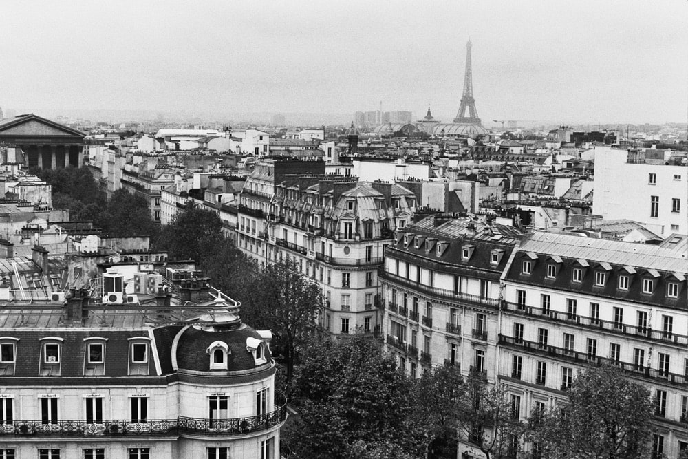 Black and white photograph by Jamie Beck showing the Paris France skyline.