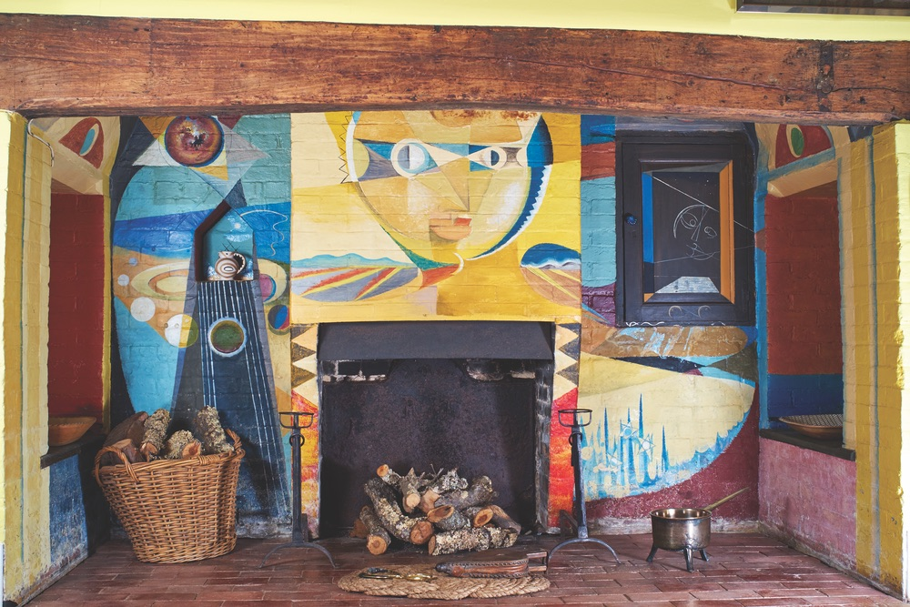 Fireplace, (mural by Roland Penrose, 1950), Farley House, East Sussex, England