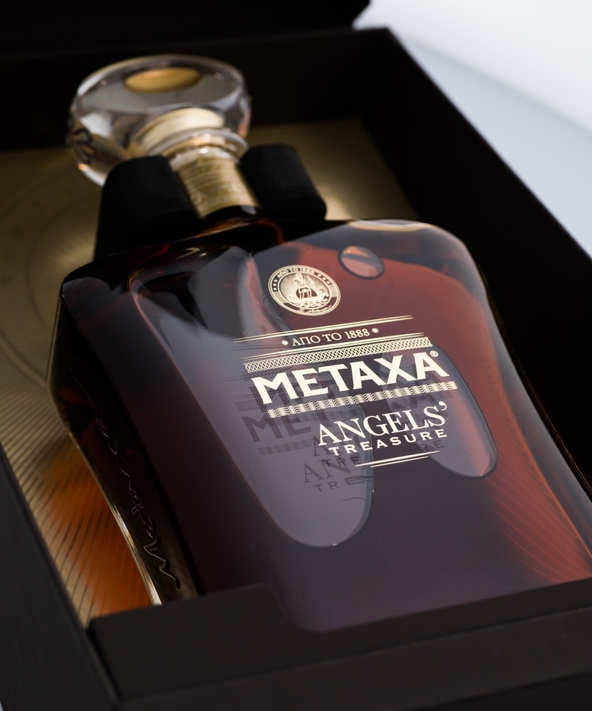 A bottle of Metaxa Angels' Treasure