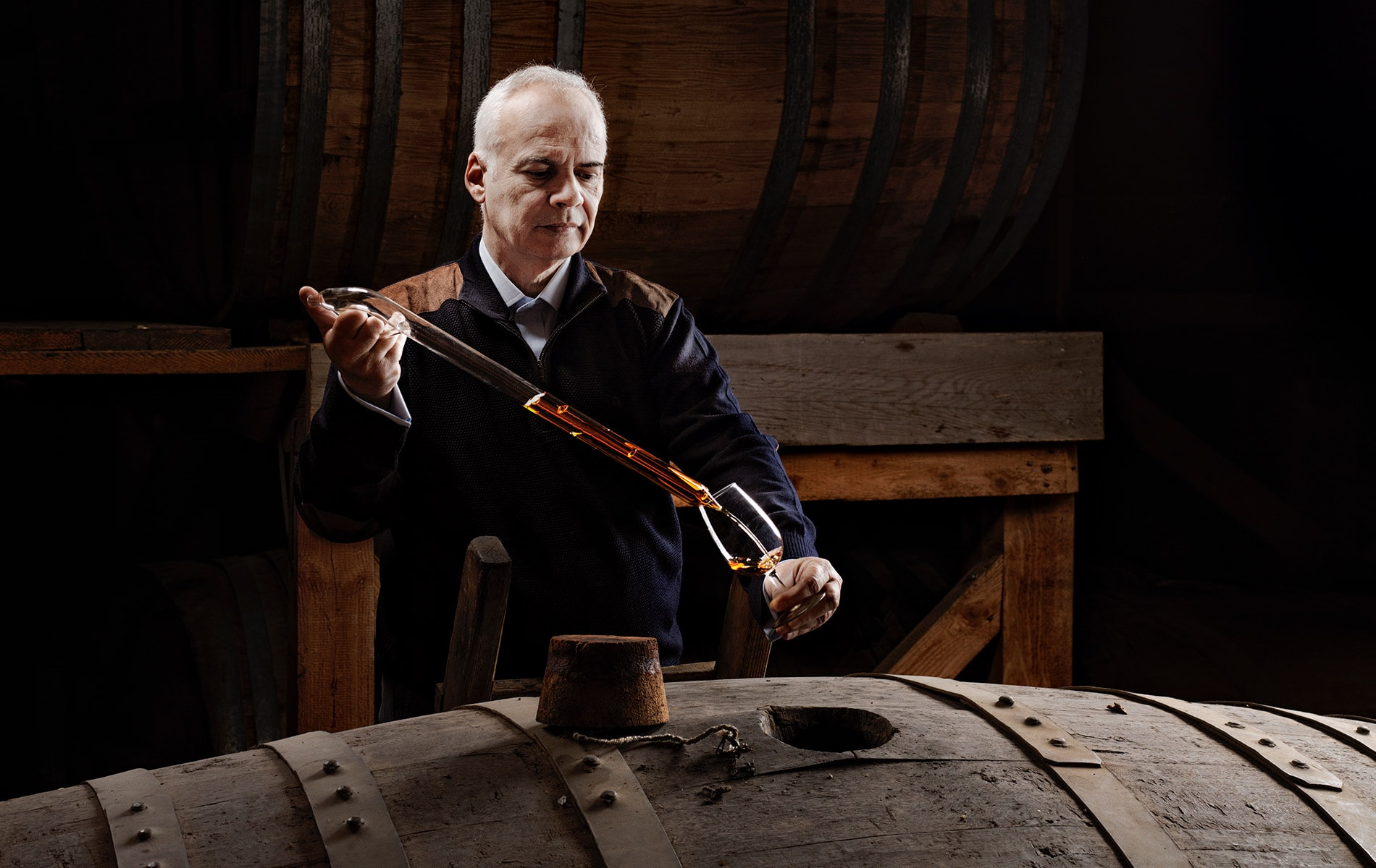Metaxa Master Constantinos Raptis at work in the cellar at House of Metaxa in Athens, Greece