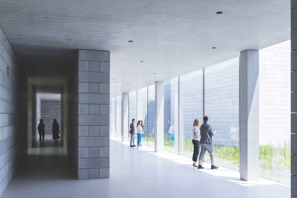 The glass-walled passage at the Pavilions, Glenstone Museum