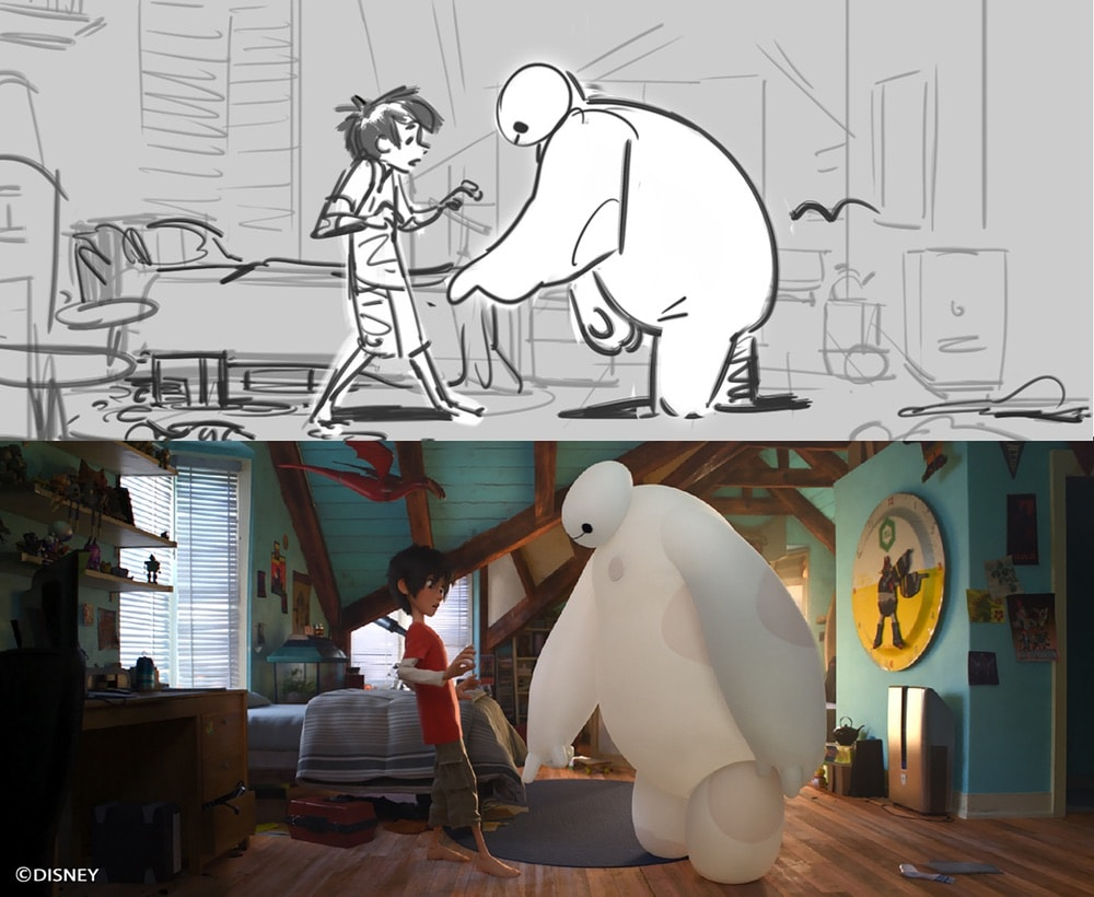 Paul Brigg's sketch of characters Hiro and Baymax comes to life in Disney's Big Hero 6