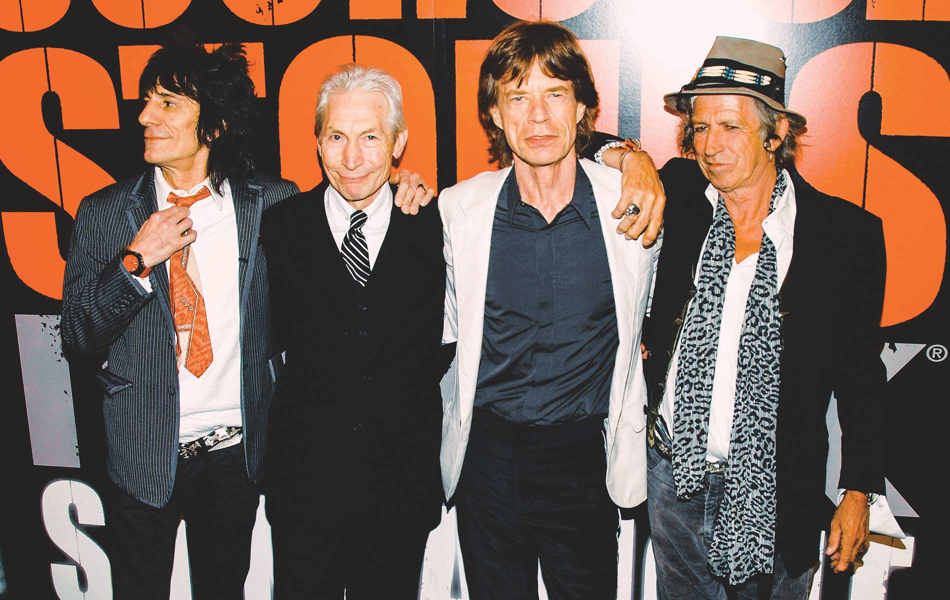 The Rolling Stones' Ronnie Wood, Charlie Watts, Mick Jagger, and Keith Richards at Clearview's Ziegfeld Theater in New York in March of 2008