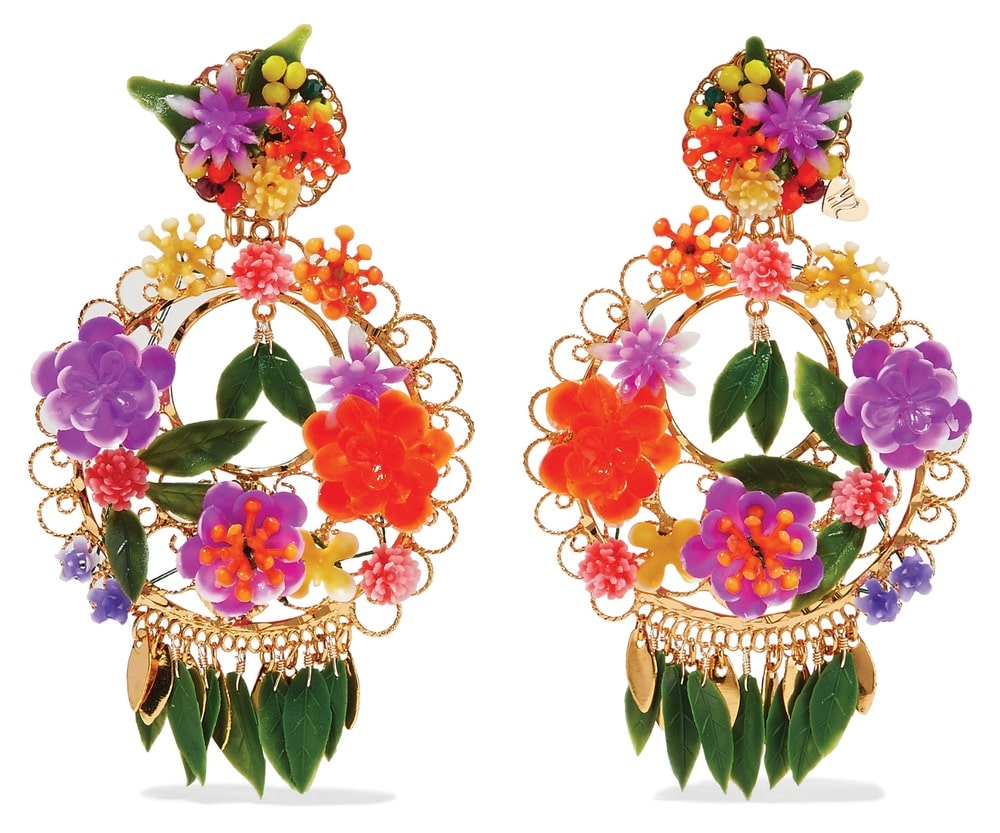 Fiesta Gold-Plated Resin Clip Earrings by Mercedes Salazar