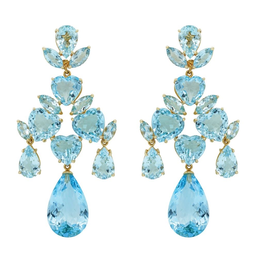 Azul Chandelier Earrings in Blue Topaz and 18-Karat Gold
