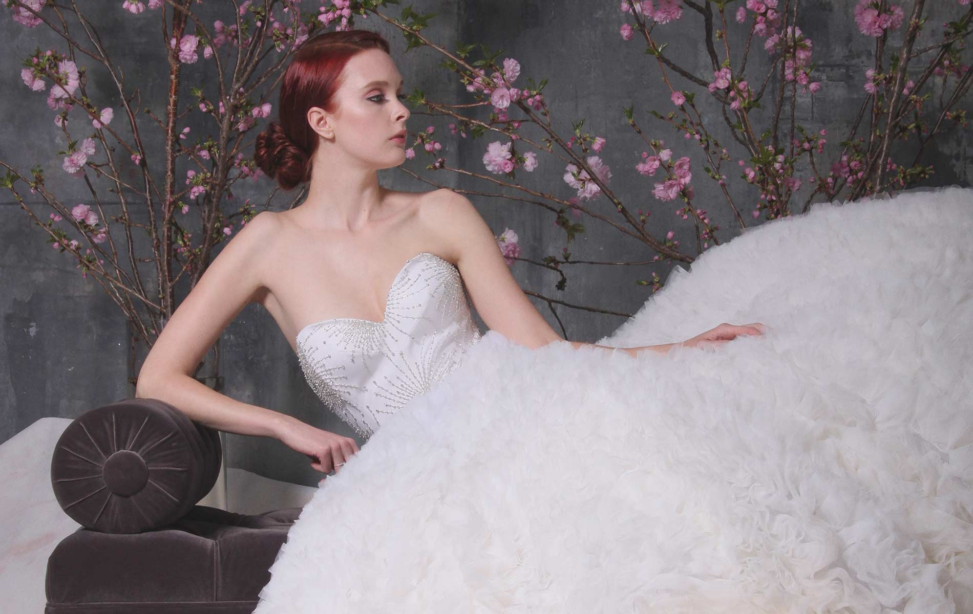 Model wearing a dress from the Christian Siriano Bridal line