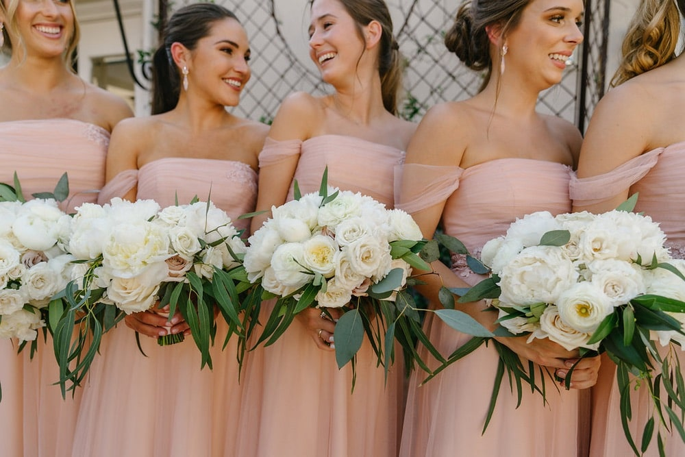 bridesmaids standing in a line