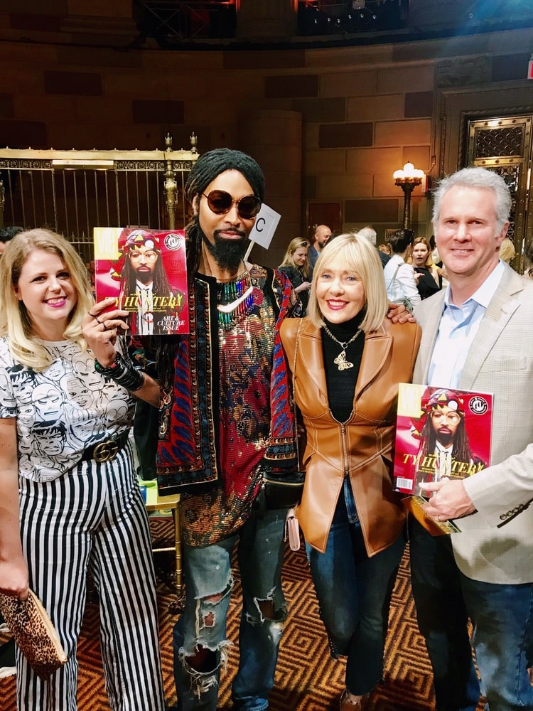 Ty Hunter, Jordan Staggs, and Lisa and Gerald Burwell of VIE Magazine at Christian Siriano's SS19 NYFW fashion show at Gotham Hall