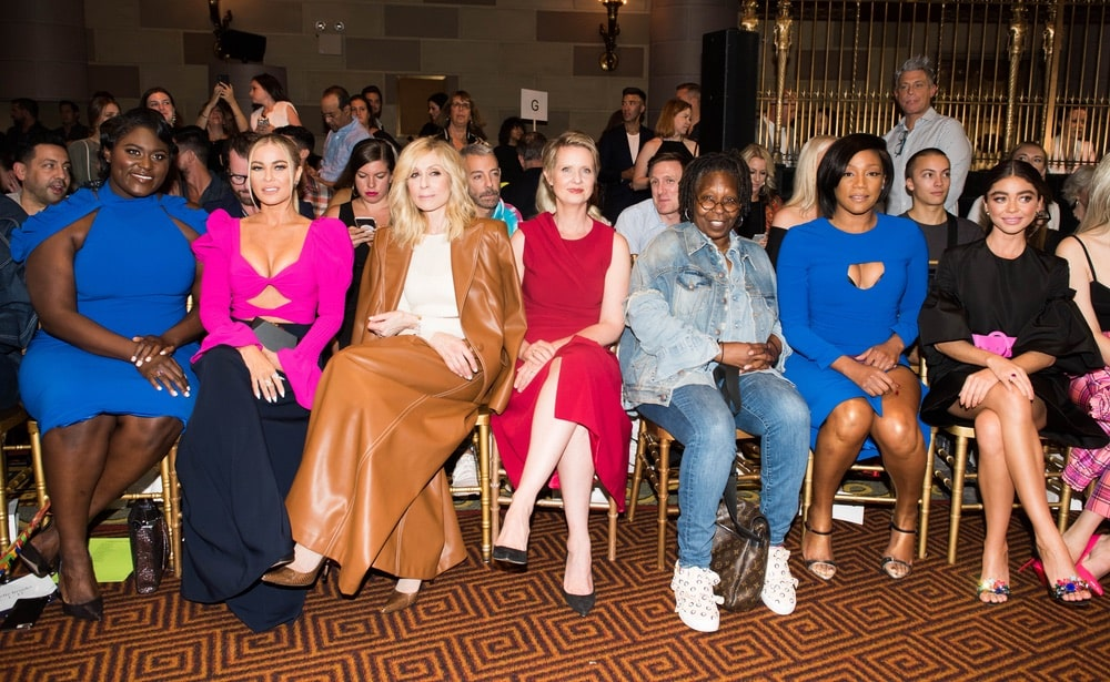 Danielle Brooks, Carmen Electra, Judith Light, Cynthia Nixon, Whoopi Goldberg, Tiffany Haddish, and Sarah Hyland at Christian Siriano's SS19 NYFW show