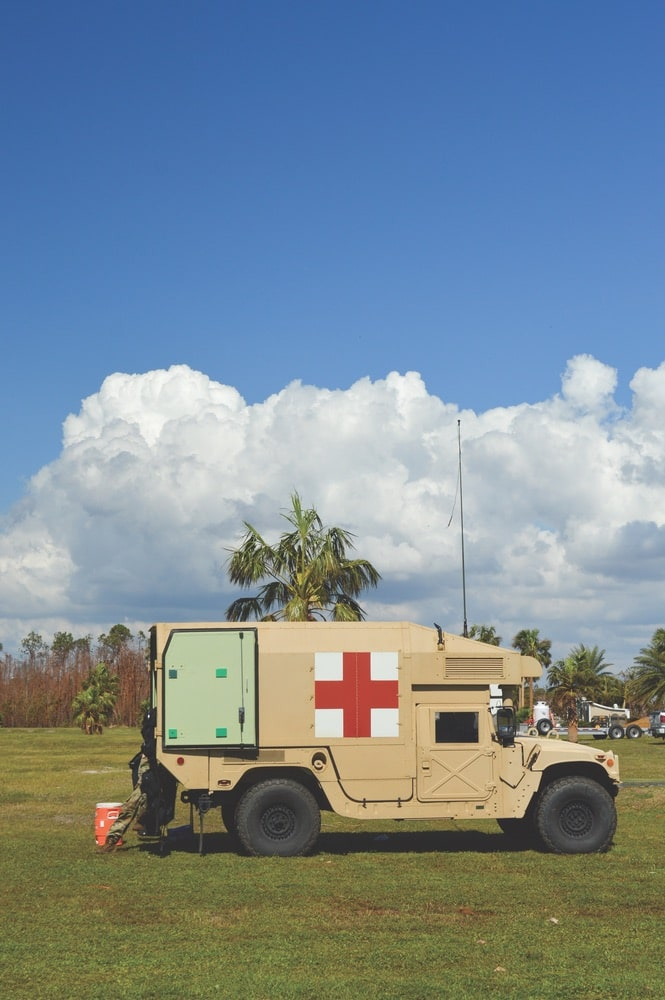 A National Guard emergency unit unpacks in Mexico Beach.