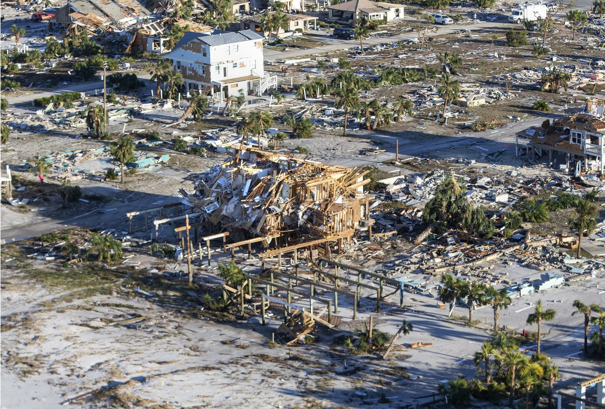 Homes and businesses along US 98 are left in devastation by Hurricane Michael on October 12, 2018 in Mexico Beach, Florida.