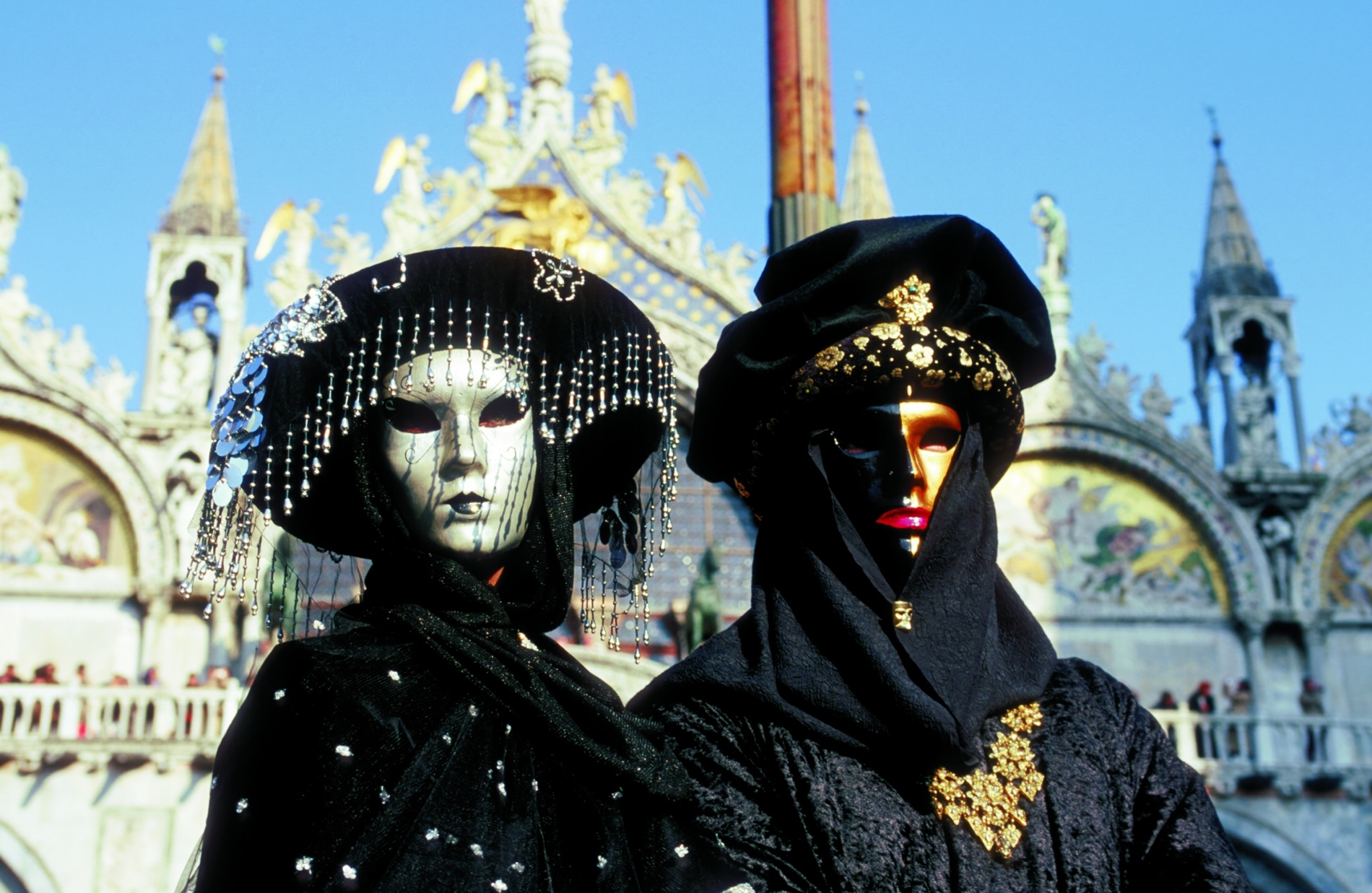 Carnevale traditional masks in Venice, Italy reflect Mardi Gras history