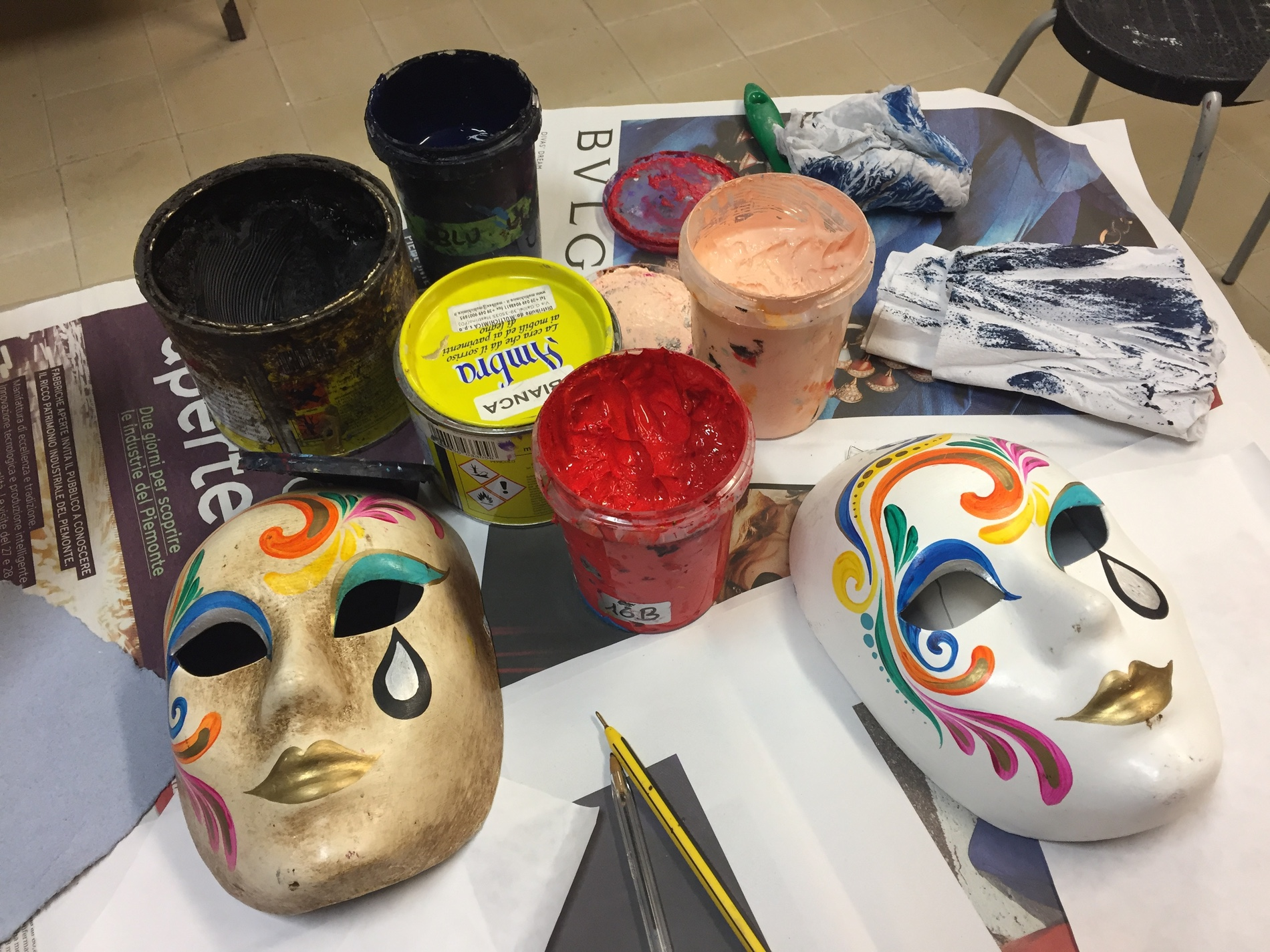 Paints and masks at Ca' Macana Carnevale Mardi Gras mask workshop in Venice, Italy