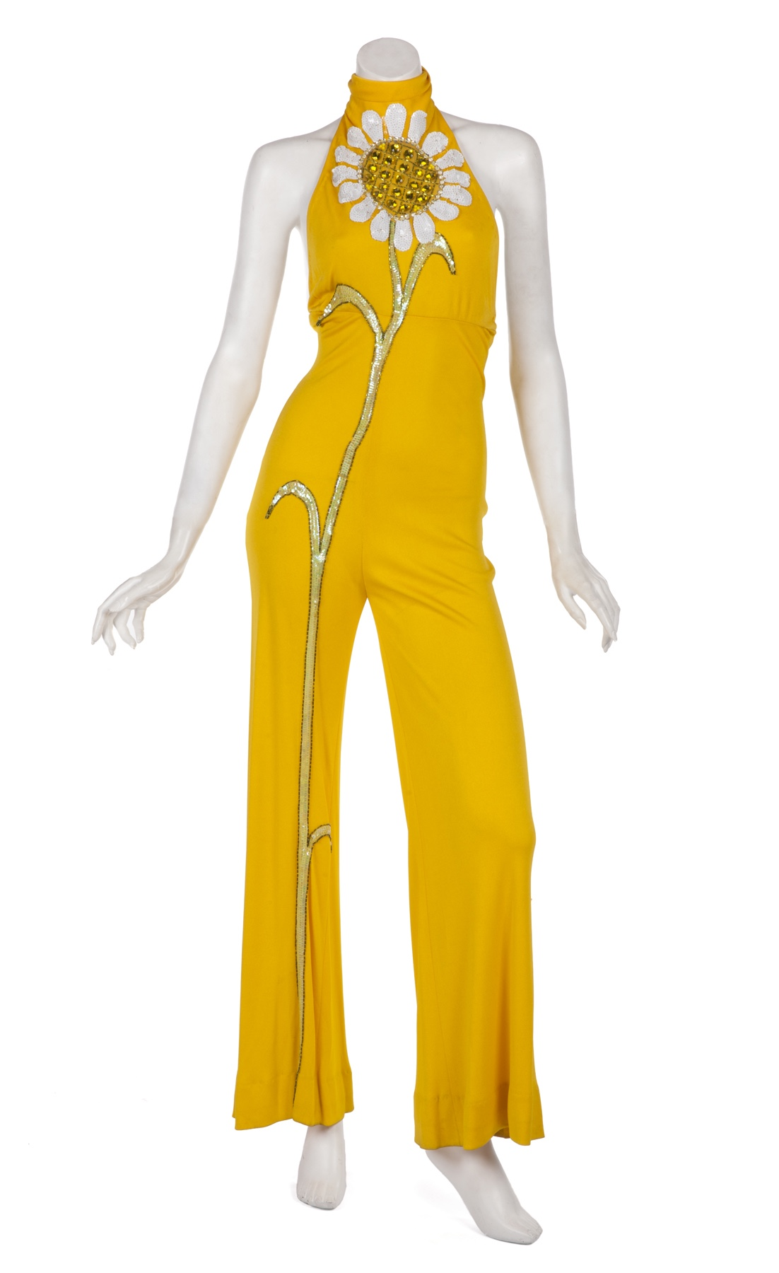 Cher yellow jumpsuit by Bob Mackie with sunflower worn on Sonny and Cher Comedy Hour