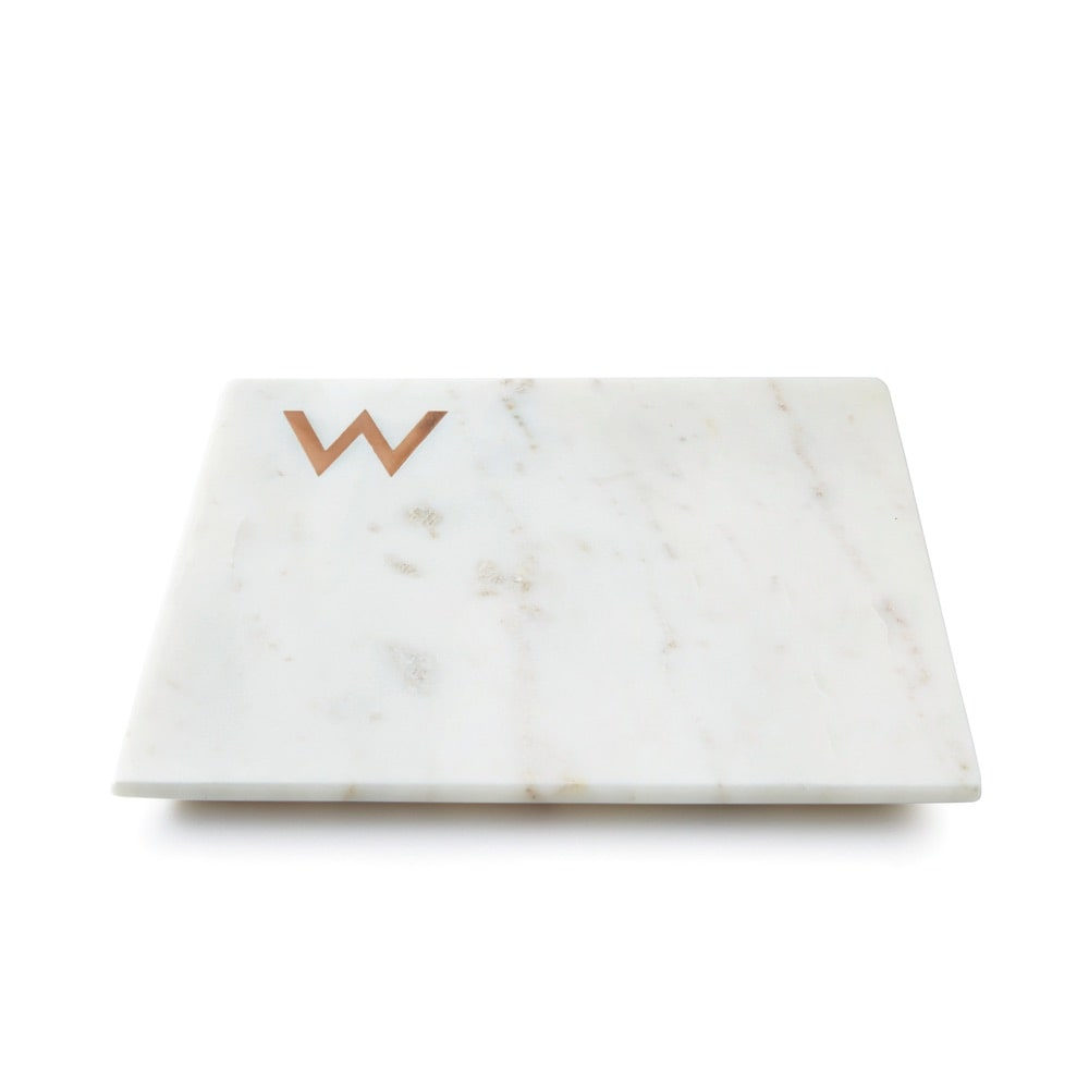 Williams Sonoma Marble and Copper Monogram Board