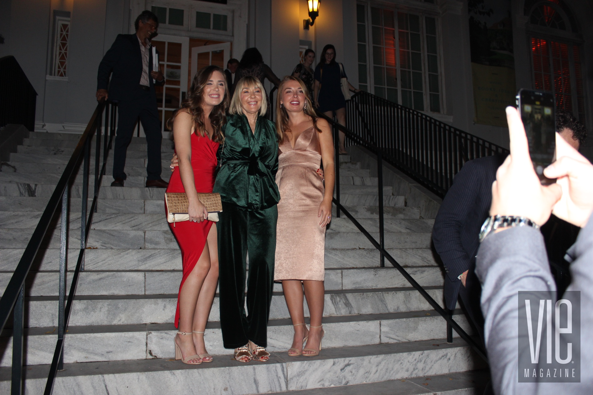 VIE magazine Abigail Ryan, Lisa Burwell, and Meghan Ryan on the steps at Charleston Library Society