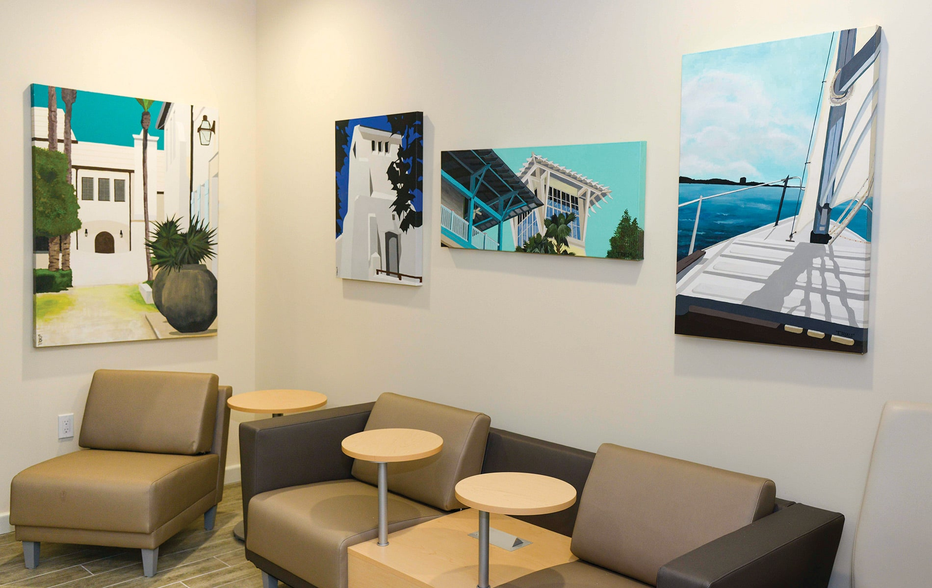 Paintings by Tim Ryals in the Emerald Coast Association of Realtors office