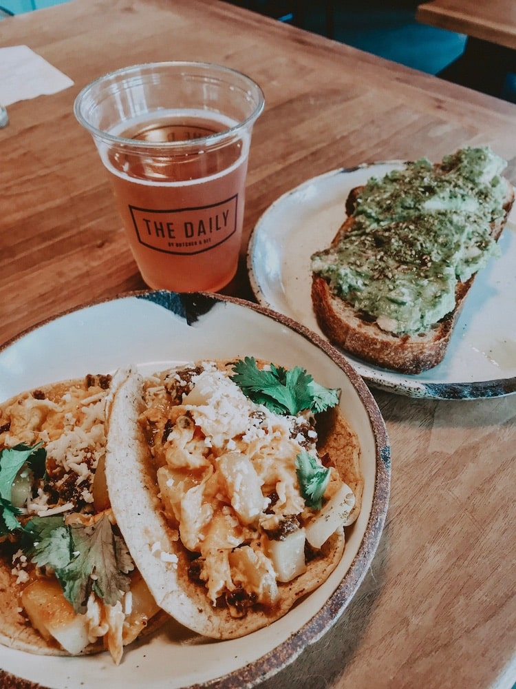 Chorizo Tacos and Avocado Toast with kombucha from The Daily in Charleston, South Carolina