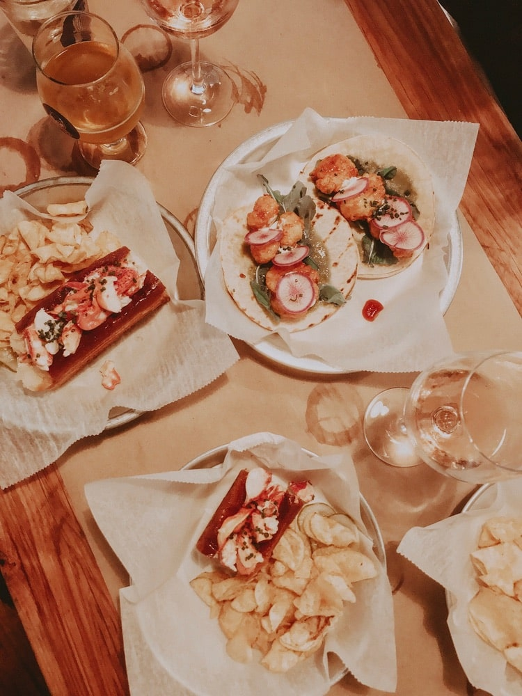 Shrimp Tacos and the Lobster Roll from 167 Raw in Charleston, South Carolina