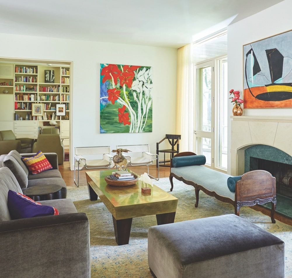 Paula Lambert's modern and eclectic living room at her Turtle Creek home in Dallas, Texas