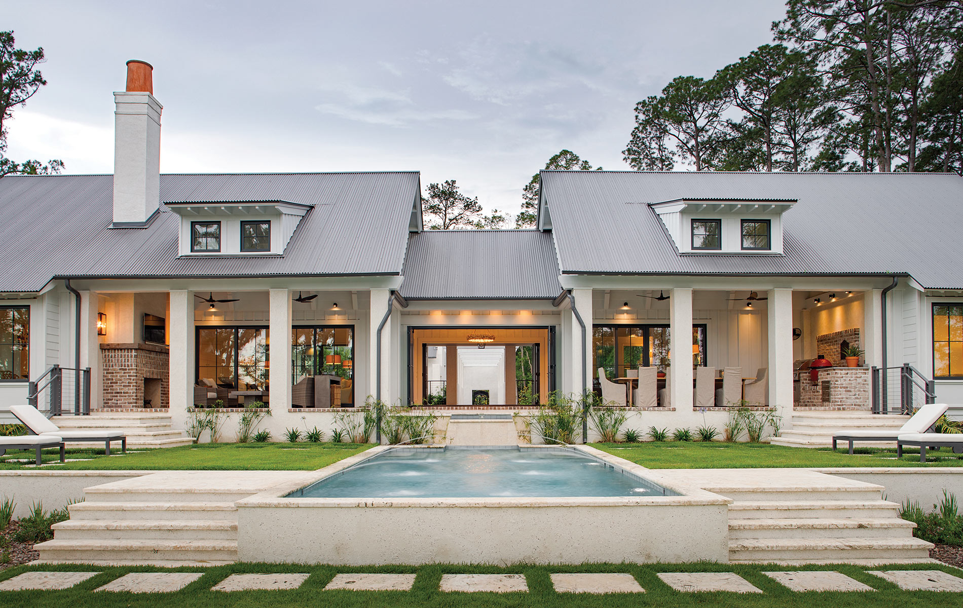 Exterior of a beautiful Southern, white home shot by Richard Leo Johnson