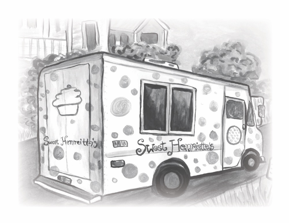 Black and white illustration by Amanda Rhodes of the Sweet Henrietta's truck