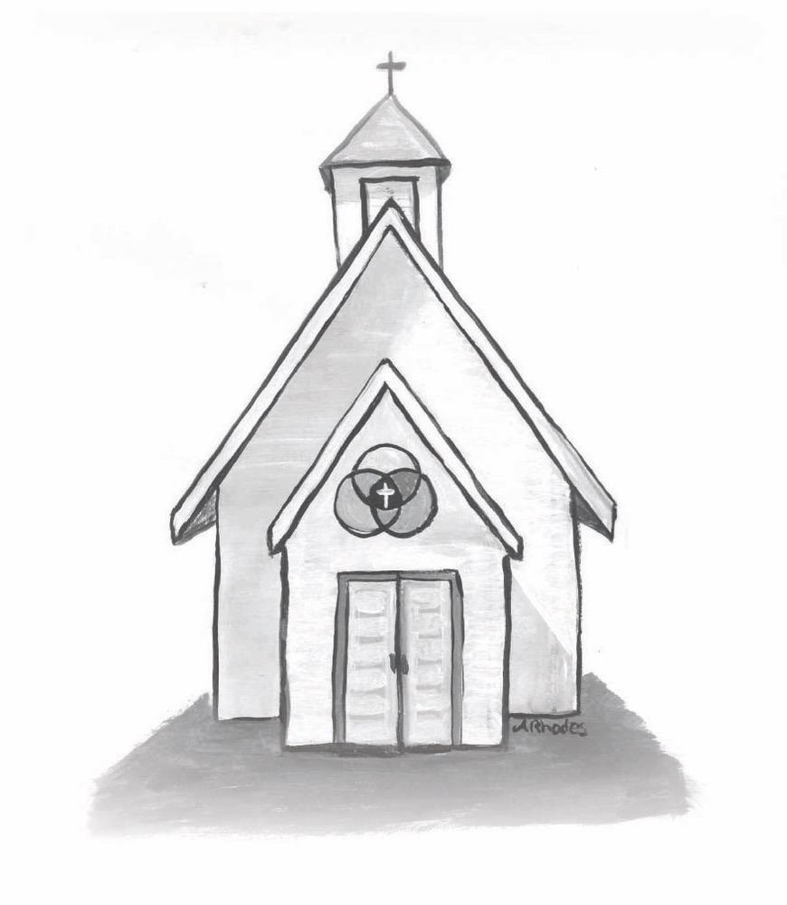 Black and white illustration by Amanda Rhodes of a white church