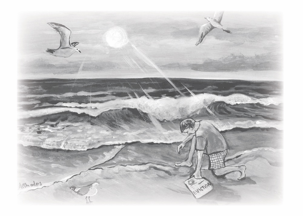 Black and white illustration by Amanda Rhodes of a man holding an eviction notice on the shoreline of The Gulf of Mexico