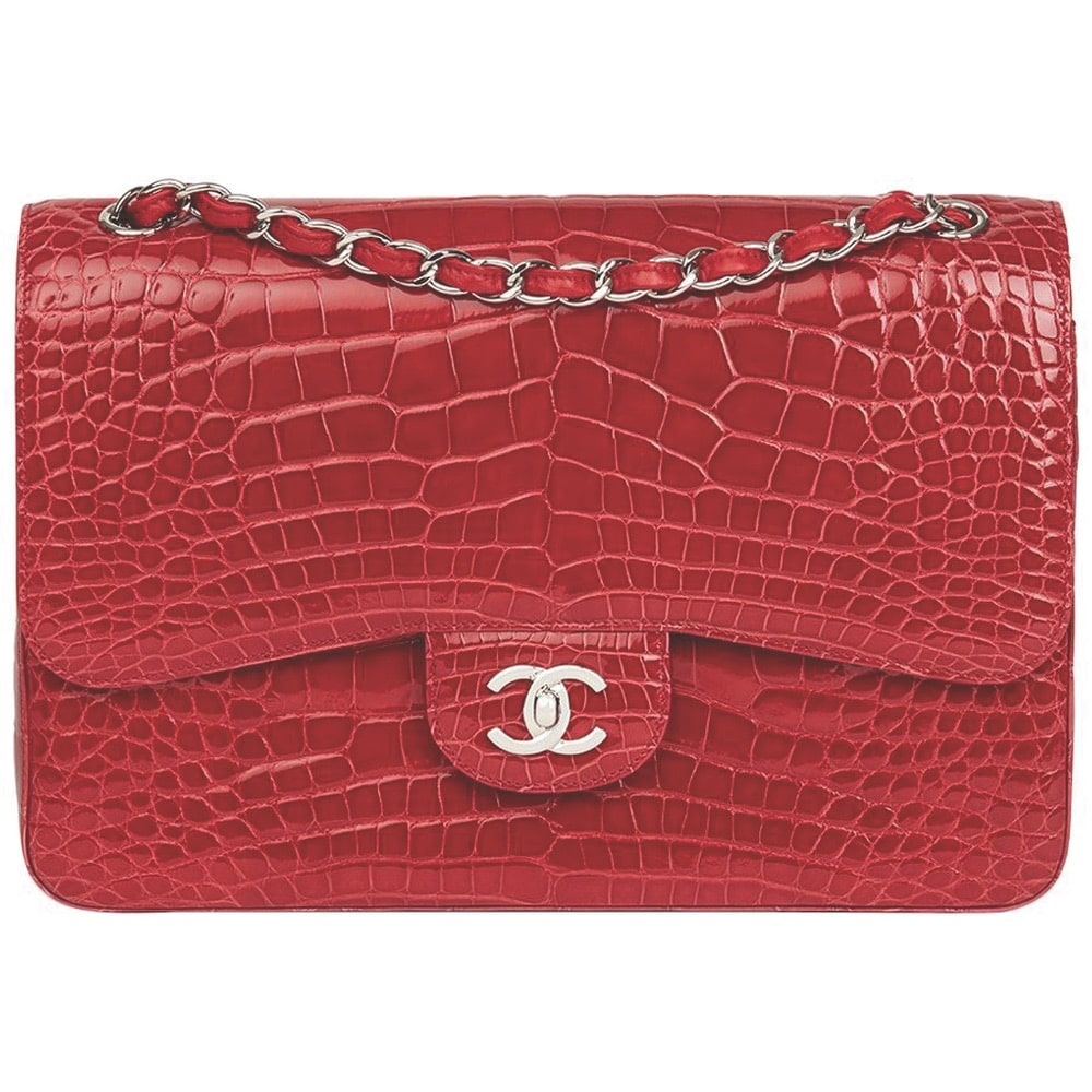 2013 Chanel Red Shiny Mississippiensis Alligator Jumbo Classic Double Flap Bag