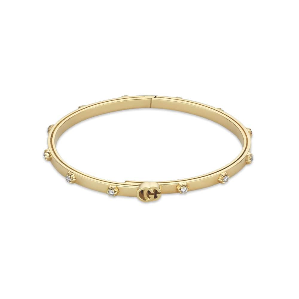 Gucci GG Running Bracelet in Yellow Gold and White Diamonds