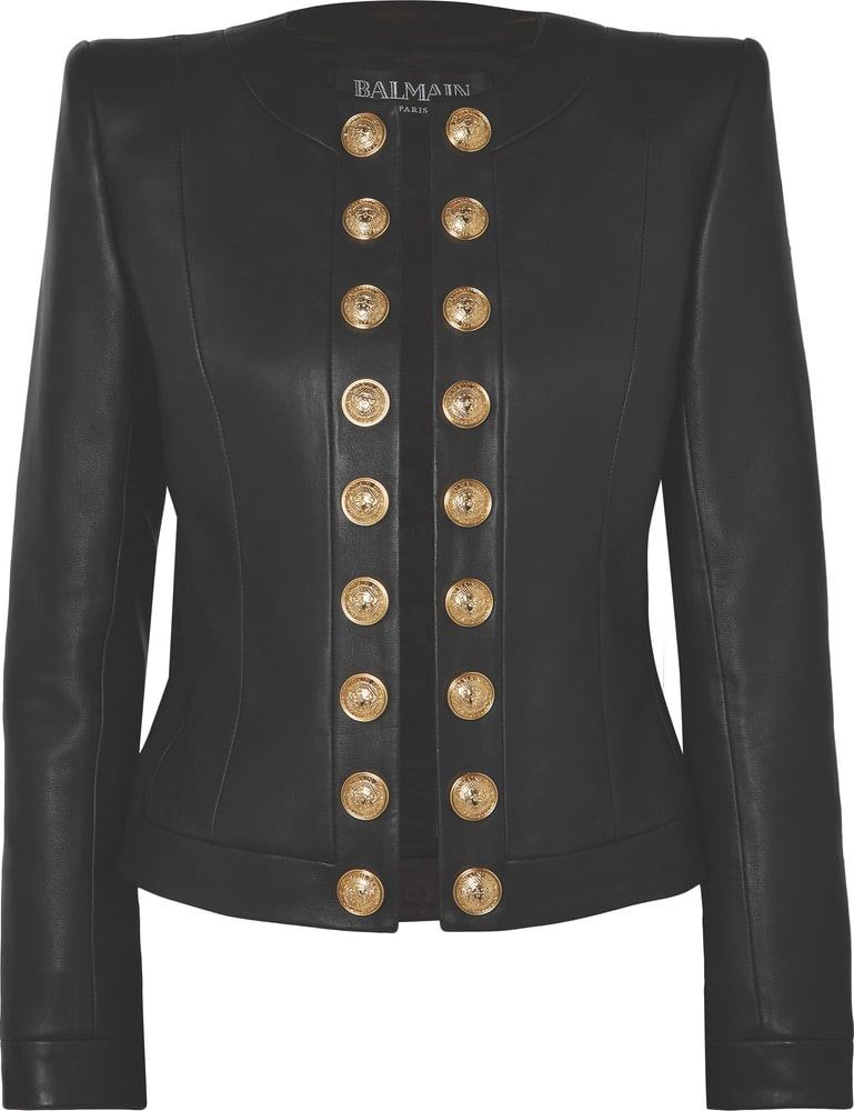 Balmain Button-Embellished Collarless Leather Blazer, net a porter