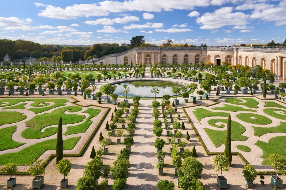 Versailles in Île-de-France region, renowned worldwide for its château, the Château de Versailles and the gardens of Versailles.