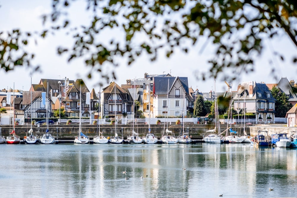 Landscape view of beautiful marine with yachts and buildings in Deauville town in France