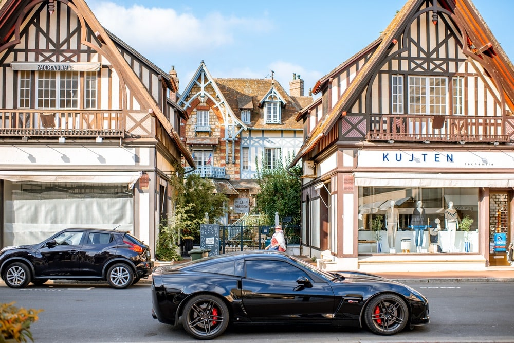 Street view with beautiful old houses in the center of Deauville town, Famous french resort in Normandy