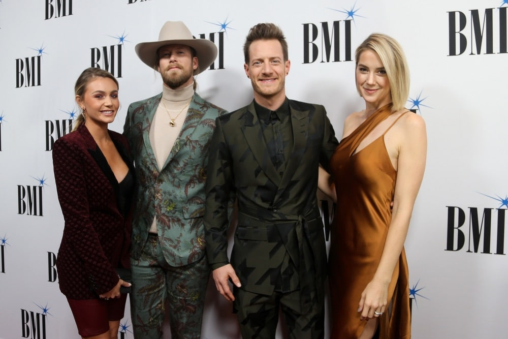 Brian Kelley and Tyler Hubbard of Florida Georgia Line and their wives Brittney Cole Kelley and Hayley Hubbard