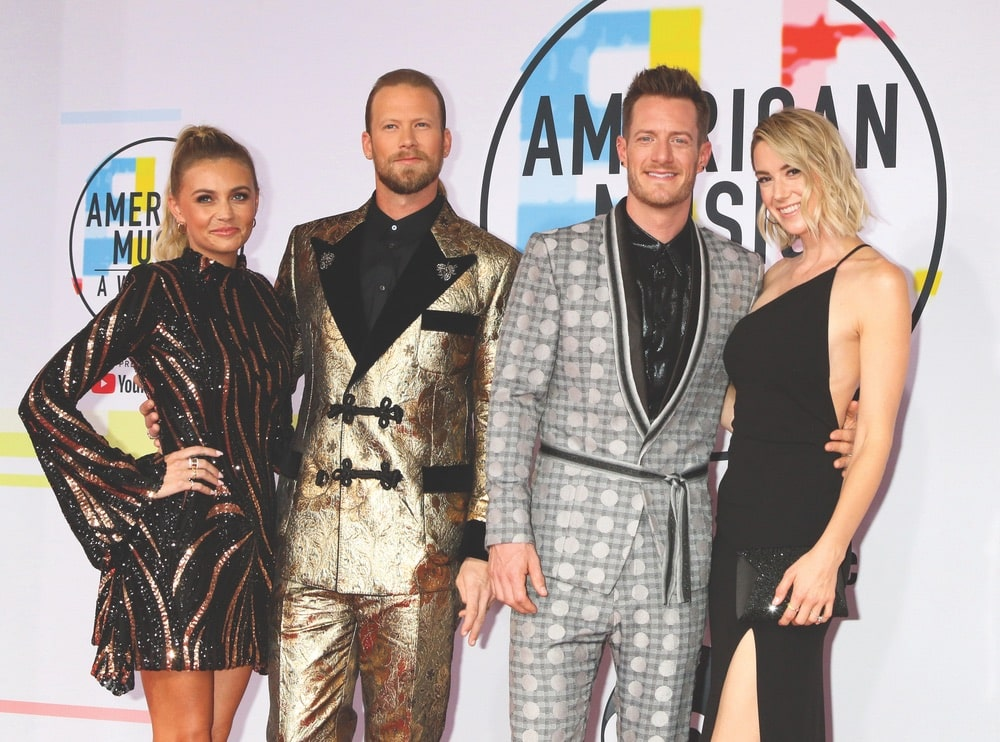 Brittney Marie Cole Kelley, Brian Kelley, Tyler Hubbard, and Hayley Hubbard at the 2018 American Music Awards at the Microsoft Theater in LA