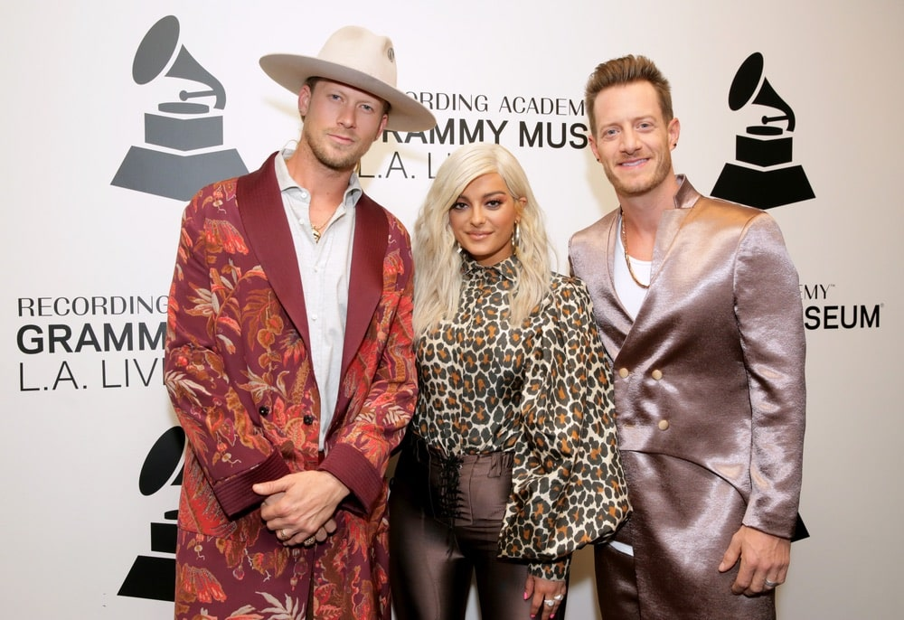 Brian Kelley, Bebe Rexha, and Tyler Hubbard attend Meant to Be: Bebe Rexha and Florida Georgia Line at the Grammy Museum on August 13, 2018, in LA.