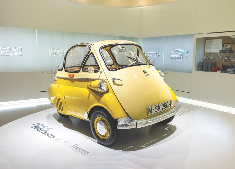 This 1955 BMW Isetta can be found in the automobile museum of BMW history in Munich. Photo by Gromwell / Shutterstock