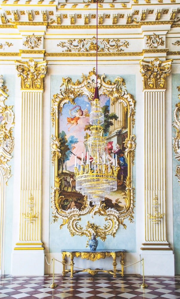 Intricate baroque details and art inside the Nymphenburg Palace, which was commissioned in celebration of the birth of the heir to the throne, Maximilian II Emanuel, born in 1662. Photo by Trabantos / Shutterstock
