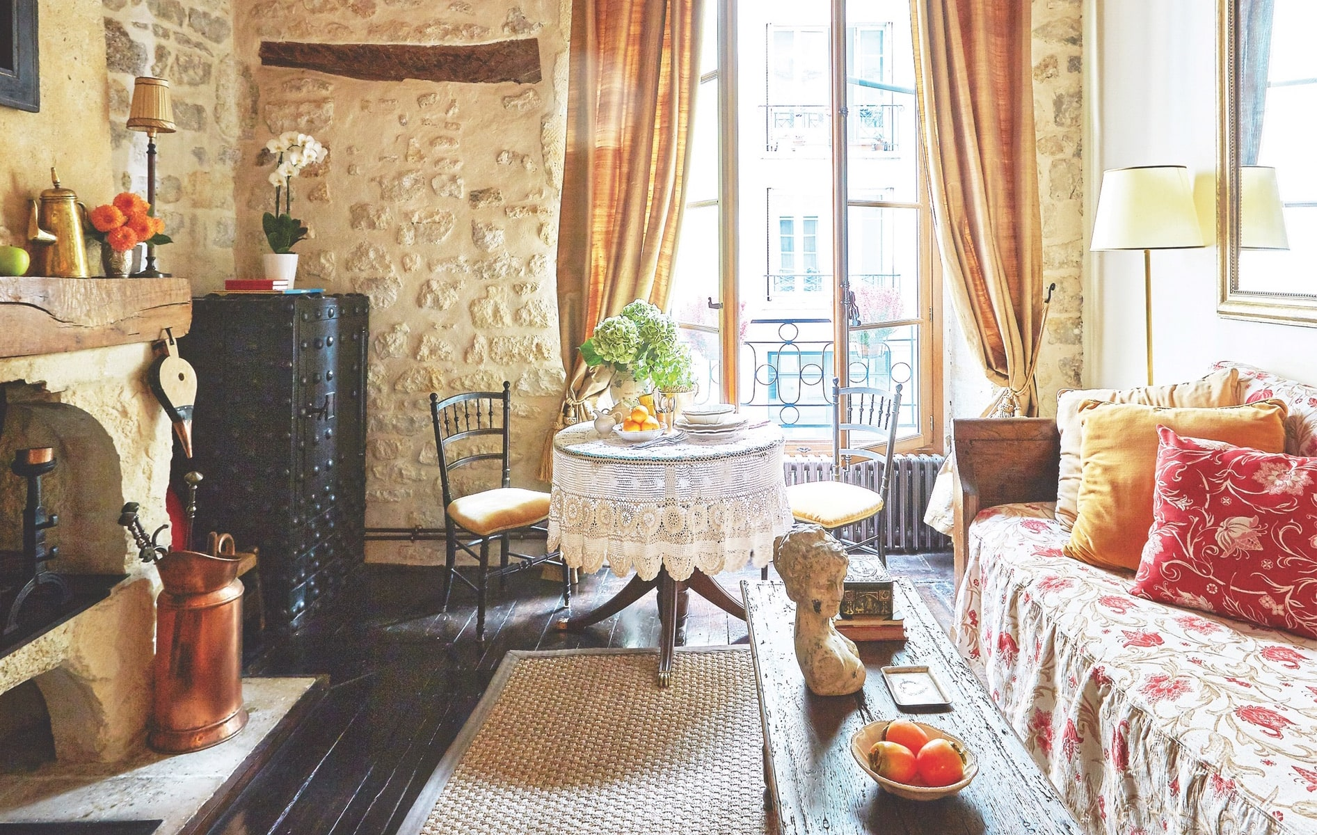 This perfect little pied-à-terre on Île Saint-Louis in Paris was built in 1652 and later renovated by a French filmmaker. It is available for rent through VRBO.com.