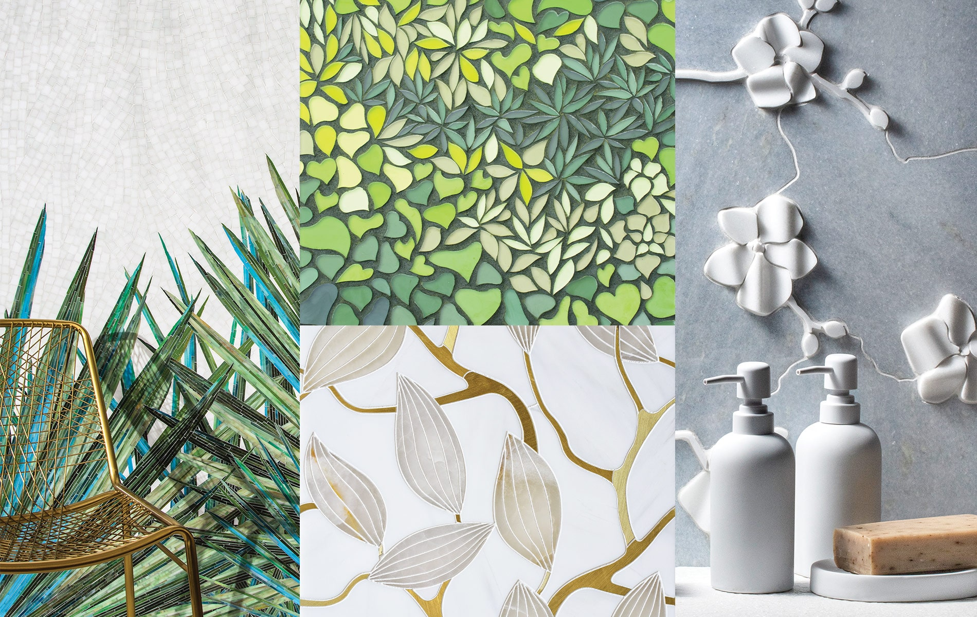 A combination of four images showcasing 4 different tiles offered at Q-Tile. The tiles all reflect nature with green hues or flower designs.