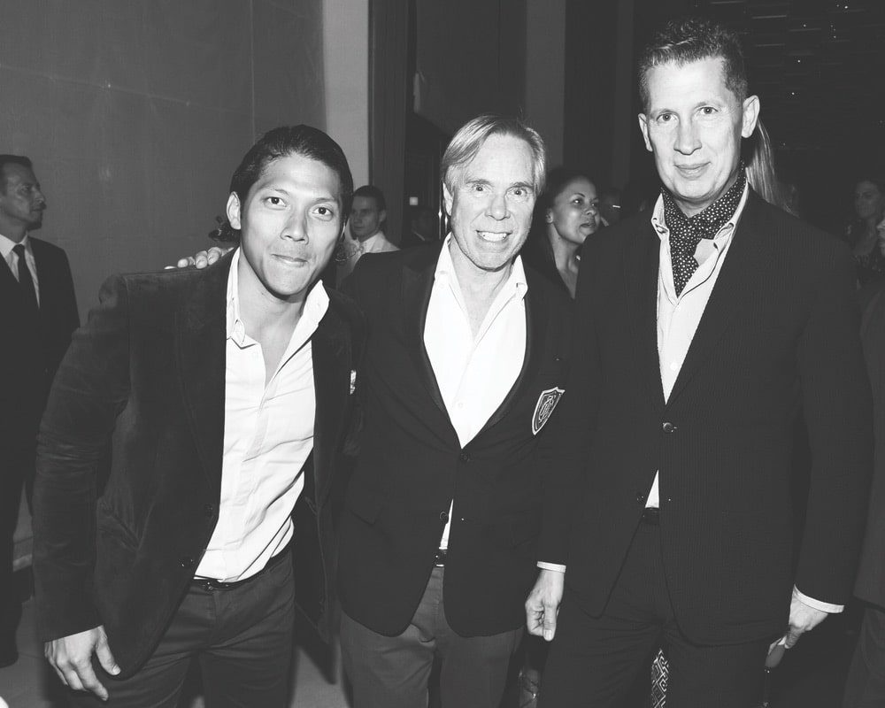 Black and white image of Robbie Antonio, Tommy Hilfiger, and Stefano Tonchi