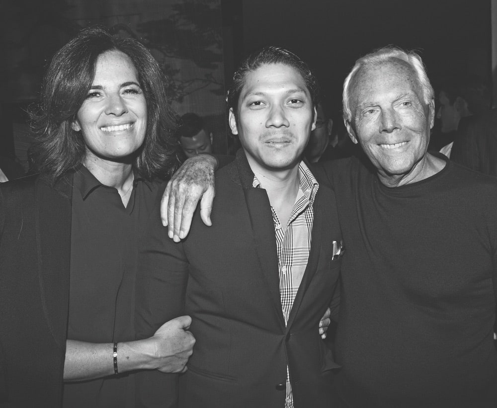 Black and white image of Roberta Armani, Robbie Antonio, and Giorgio Armani