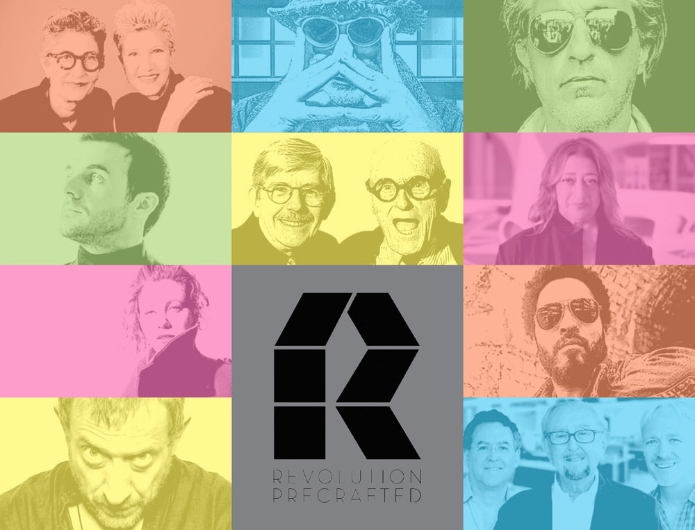 Colorful grid of 12 squares showcasing 10 designers and the Revolution Precrafted logo. The Revolutionaries include: Marcel Wanders, Zaha Hadid, Kravitz Design, Pelli Clarke Pelli Architects, Bernard Khoury, Raúl Sánchez, Hariri & Hariri Architecture, Francesca Versace, Philip Johnson Alan Ritchie Architects, Ron Arad