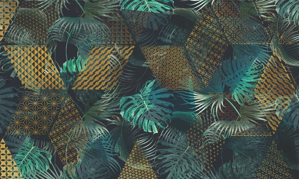 "Bring the tropics indoors with the ""Translucent"" mural designs from the 2018 Skinwall Dream Wallpaper collection."
