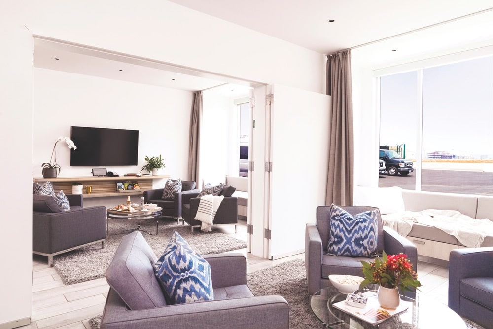Each guest receives a private luxury suite where they can wait comfortably for their flight at The Private Suite in the Los Angeles Airport (LAX).